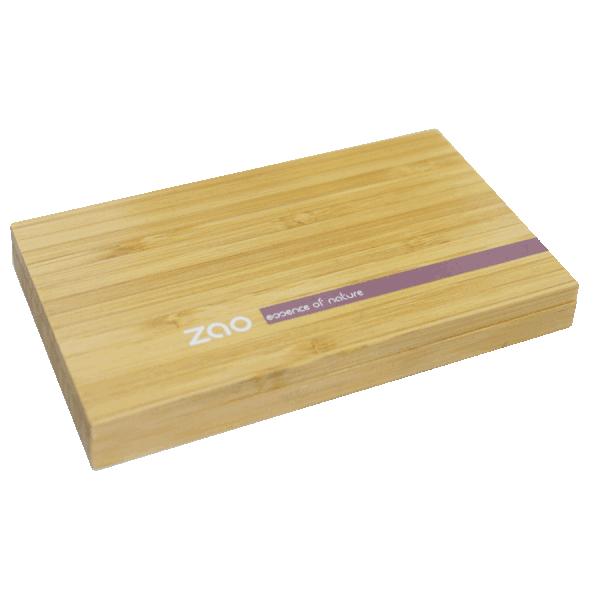 Малка магнитна бамбукова кутия за сенки и пудри с огледало ZAO
