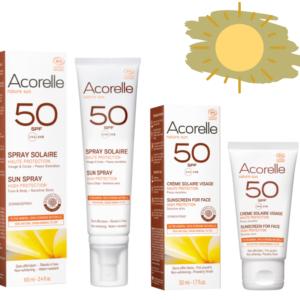Био слънцезащитен сет спрей + хипоалергенен крем за лице SPF50 - Acorelle