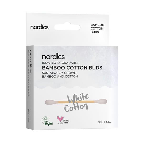 бамбукови клечки за уши с бял био памук за деца нордикс одоната