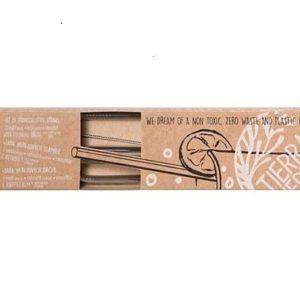 Комплект Стоманени сламки + почистваща четка - Casa Organic